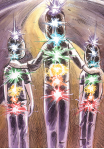 I AM a Rainbow book illustration of children and teacher walking with chakras glowing