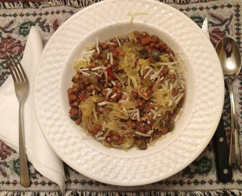 Healthy Lentils Recipe with Spaghetti Squash