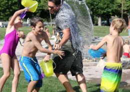 water fight children water play joy